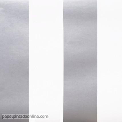 Papel Empapelar Blanco y Plata Rayas